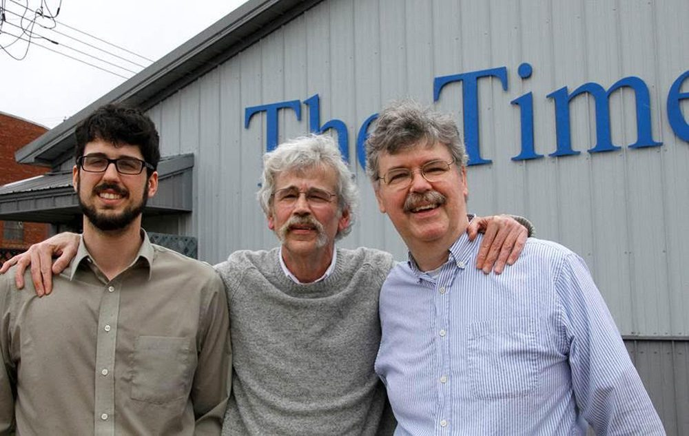 Storm Lake Times editor Art Cullen (center), his son Tom Cullen (left) and Art's brother John Cullen (right). Tom's reporting inspired the Pulitzer Prize-winning editorials. John is the publisher of the paper, and Art and John are co-owners. (Dolores Cullen)