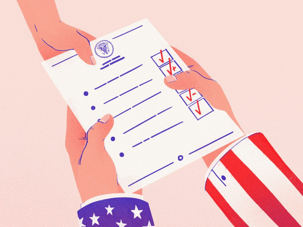 President Trump announced early on what goals he hoped to accomplish in his first 100 days in office. Which ones has he already accomplished? (Chelsea Beck/NPR)