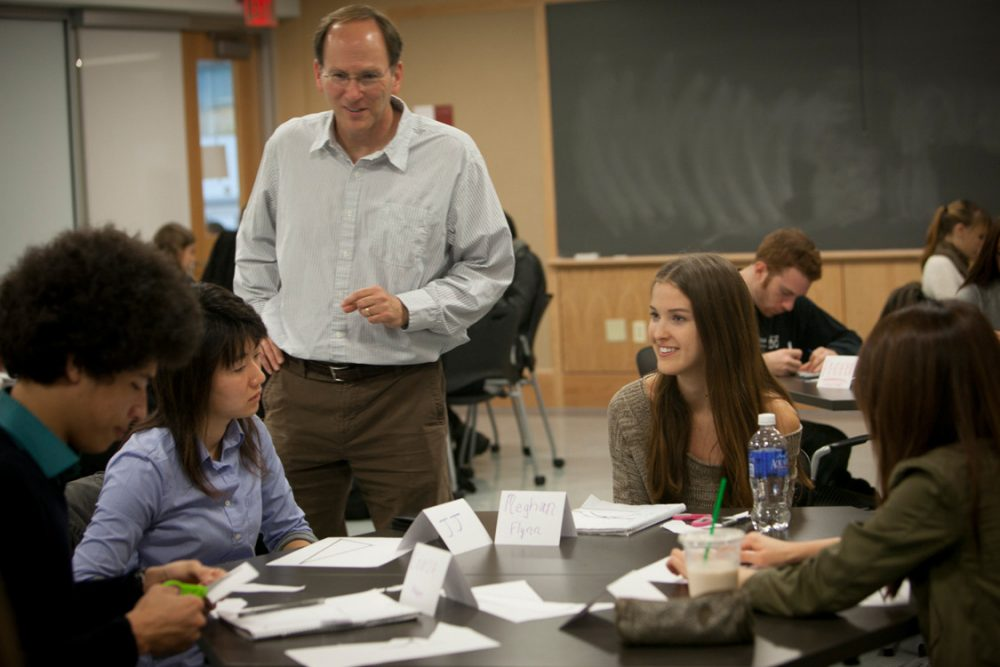 Steven Strogatz teaches a math class for non-math majors at Cornell. (Courtesy of Cornell University Photography)