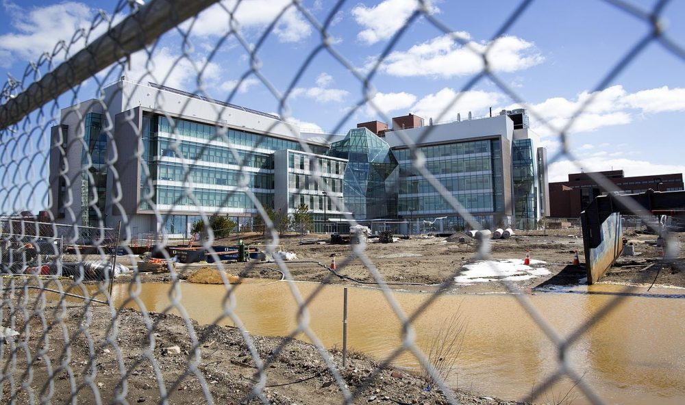 Even as state aid has languished, the UMass system has embarked on a building spree. Pictured here: The Integrated Sciences Complex at UMass Boston. (Robin Lubbock/WBUR)