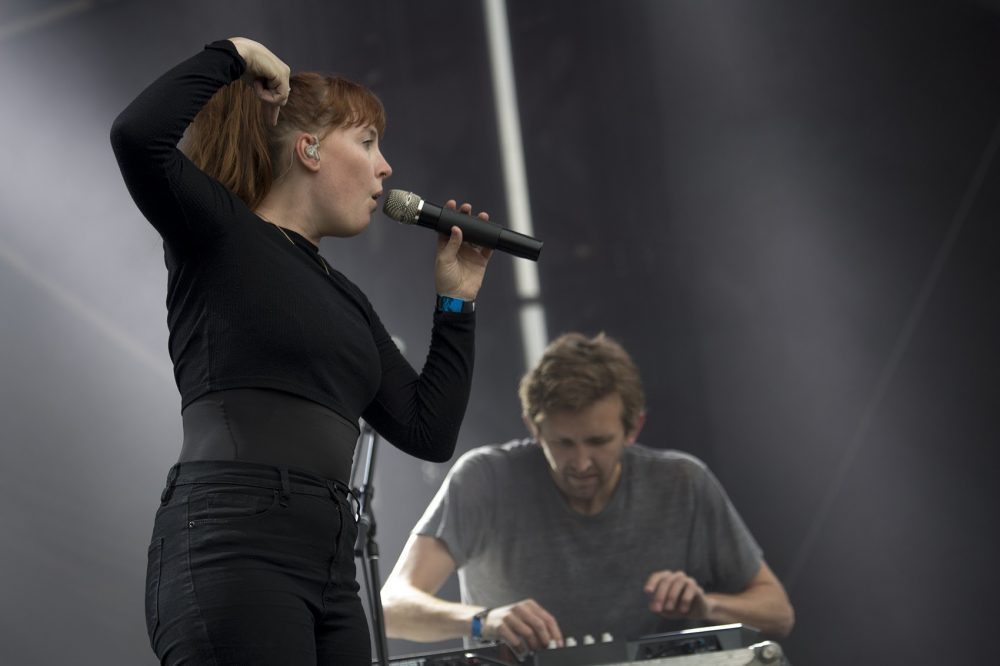Amelia Meath and Nick Sanborn of North Carolina band Sylvan Esso. (Jesse Costa/WBUR)