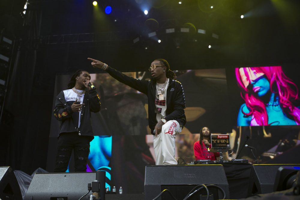 The hip-hop trio Migos was a last minute replacement for Solange Friday night. (Jesse Costa/WBUR)