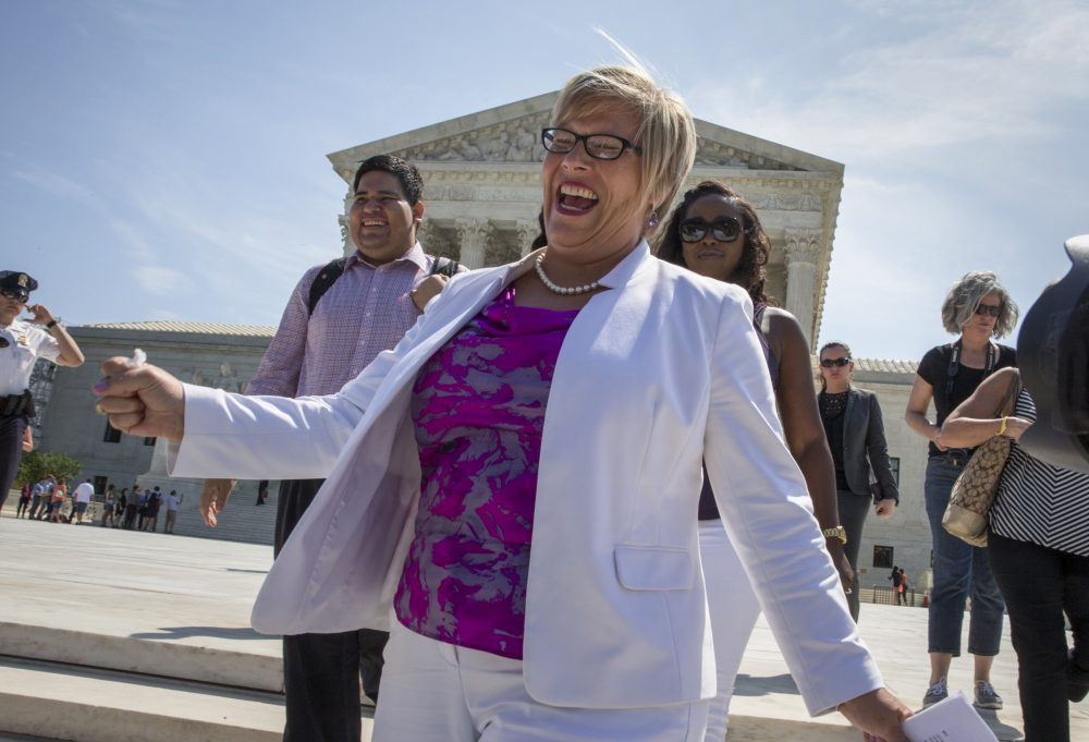 Amy Hagstrom Miller, founder of Whole Woman's Health, a Texas women's health clinic that provides abortions, rejoices as she leaves the Supreme Court in Washington, Monday, June 27, 2016, as the justices struck down the strict Texas anti-abortion restriction law known as HB2. The justices voted 5-3 in favor of Texas clinics that had argued the regulations were a thinly veiled attempt to make it harder for women to get an abortion in the nation's second-most populous state. The case is Whole Woman's Health v. Hellerstedt. (J. Scott Applewhite/AP)