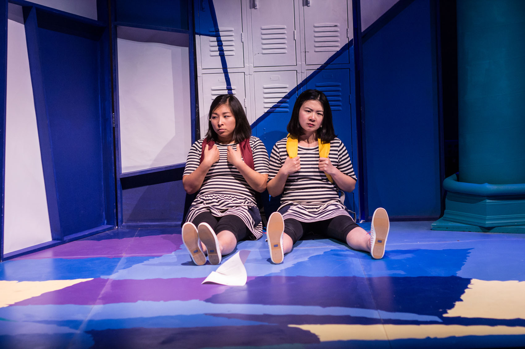"""Kim Klasner, as M, and Khloe Alice Lin, as L, in Company One's production of """"peerless,"""" a pay-what-you-can production.  (Courtesy Paul Fox/Company One)"""