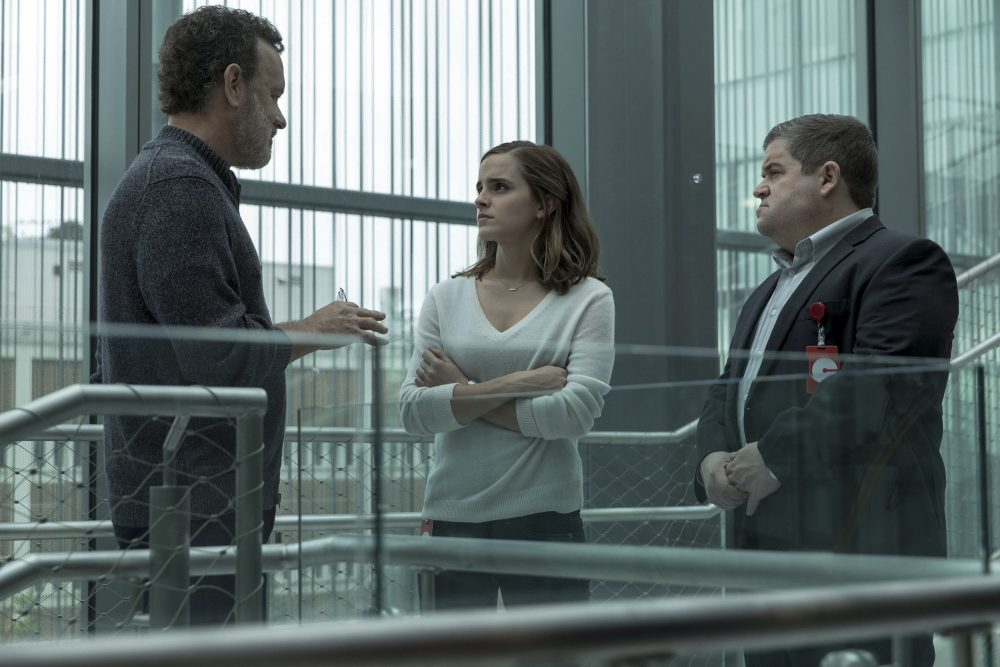 "Tom Hanks, Emma Watson and Patton Oswalt in a scene from ""The Circle."" (Francois Duhamel/ STX Financing via AP)"