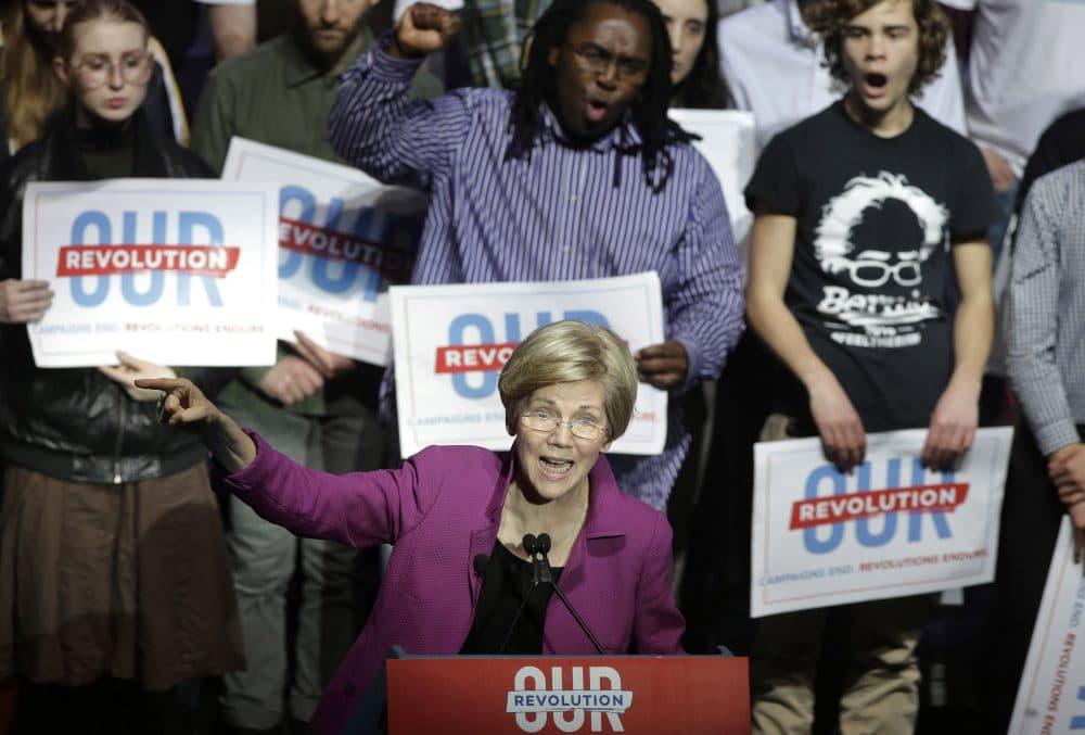 Sen. Elizabeth Warren, D-Mass., speaks during a rally on March 31 in Boston. (Steven Senne/AP)