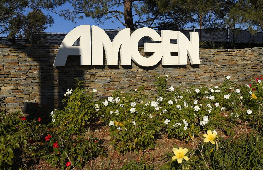 This Nov. 9, 2014, file photo, shows signage outside the Amgen headquarters in Thousand Oaks, Calif. (Mark J. Terrill/AP)