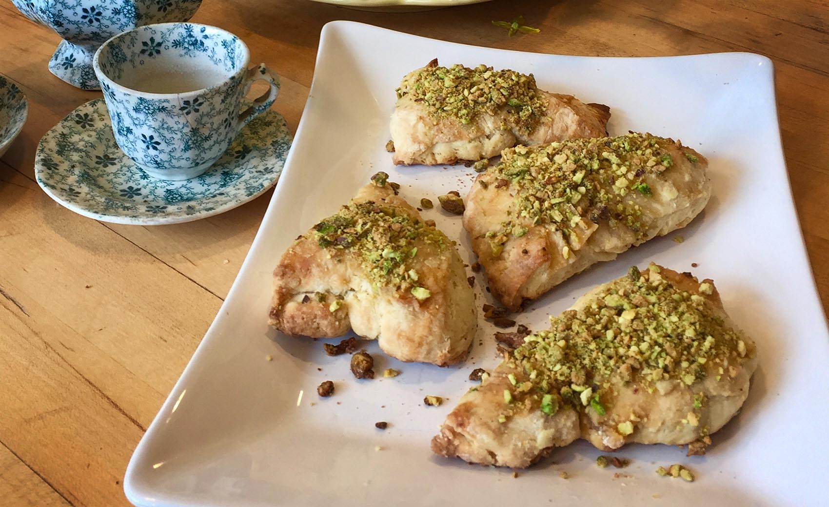 Kathy's ginger buttermilk scones with maple-pistachio nut glaze. (Kathy Gunst for Here & Now)