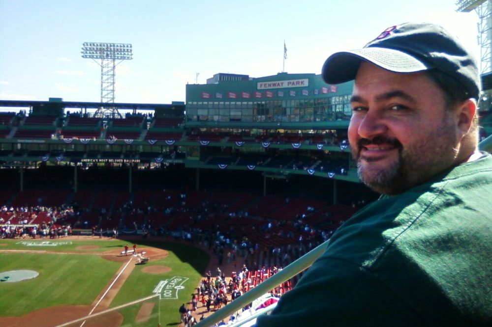 Sean Bunn at Fenway Park in April 2012, during the ballpark's 100th anniversary celebration week. (Courtesy Sean Bunn)
