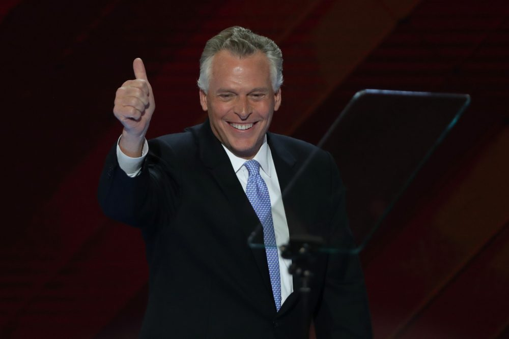 Gov. Terry McAuliffe (D-Va.) gives a thumbs up to the crowd on the second day of the Democratic National Convention at the Wells Fargo Center, July 26, 2016, in Philadelphia. (Alex Wong/Getty Images)