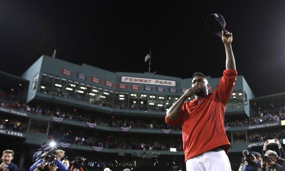 Boston Red Sox designated hitter David Ortiz tips his cap after Game 3 of baseball's American League Division Series on Oct. 10, 2016, in Boston. (Charles Krupa/AP)