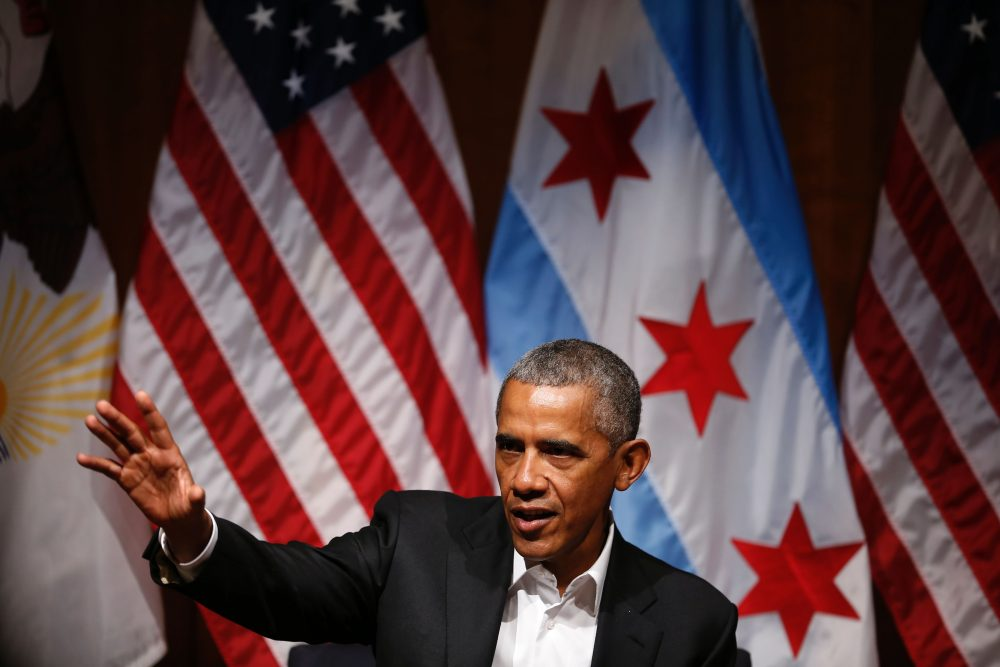 Former President Barack Obama speaks at a forum at the University of Chicago in Chicago on April 24, 2017. (Jim Young/AFP/Getty Images)