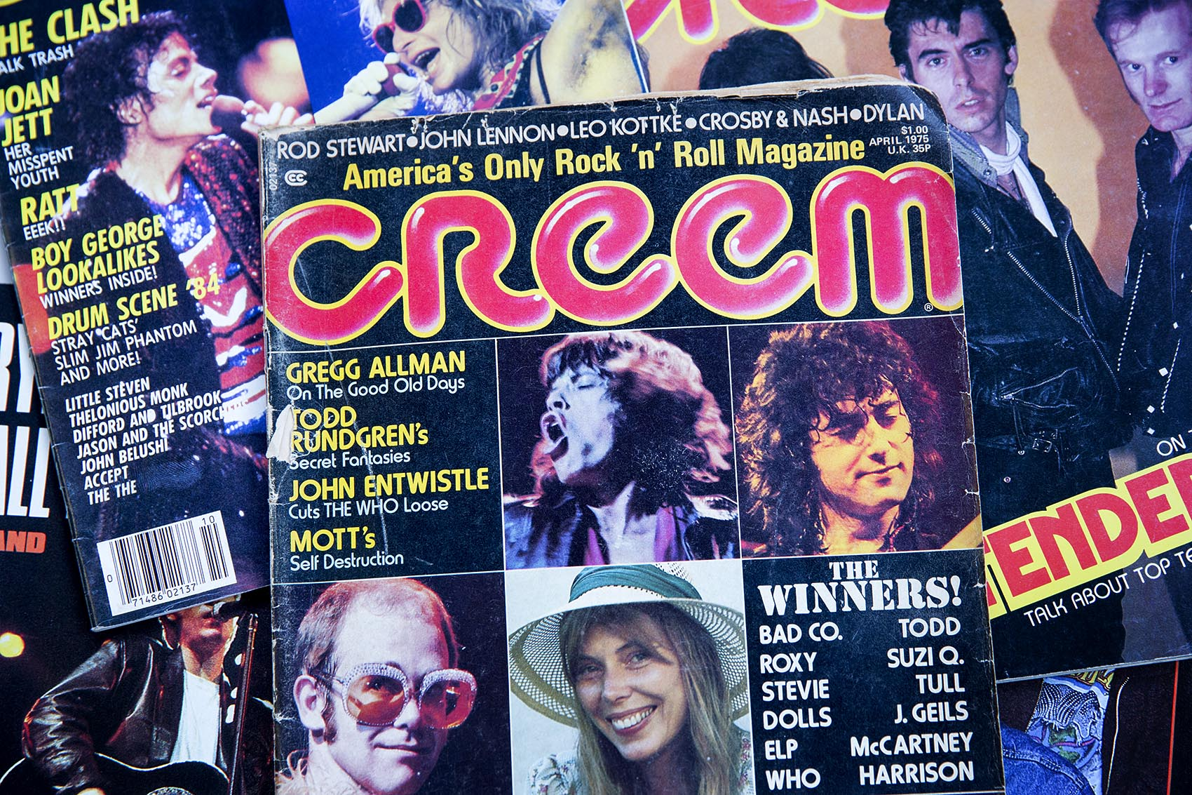 Copies of rock 'n' roll magazine Creem from 1975. (Robin Lubbock/WBUR)