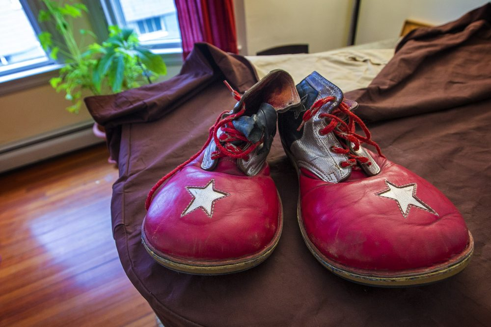 The clown shoes Peter Bufano wore during his tenure as a clown with the Ringling Bros. and Barnum & Bailey Circus. (Jesse Costa/WBUR)