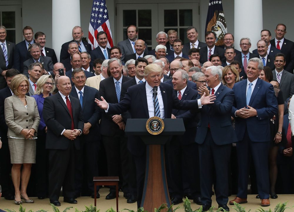 President Trump (center) speaks while flanked by House Republicans after they passed legislation aimed at repealing and replacing the Affordable Care Act, during an event in the Rose Garden at the White House, on May 4, 2017 in Washington, D.C. (Mark Wilson/Getty Images)