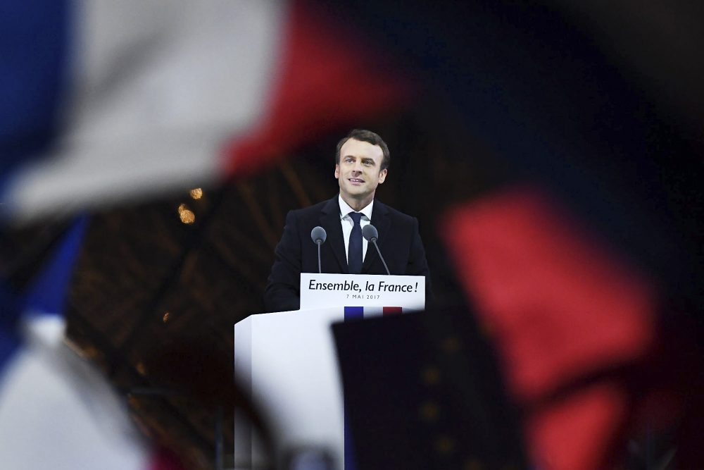 Emmanuel Macron addresses supporters after winning the French presidential election, at The Louvre on May 7, 2017, in Paris. (David Ramos/Getty Images)