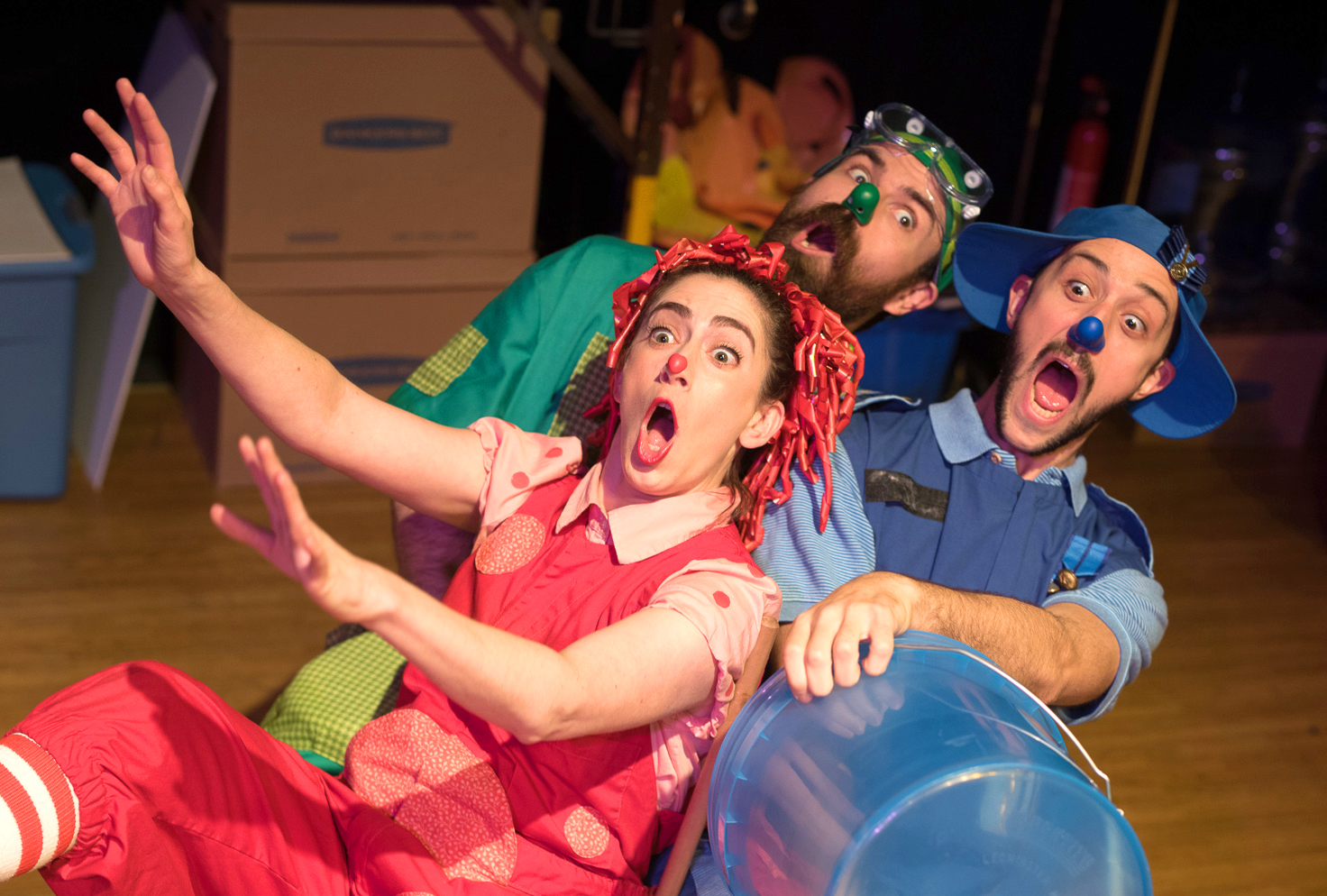 Rebecca Lehrhoff as Ruffles, Glen Moore as Poodge and Jesse Garlick as Marco. (Courtesy Chris McIntosh)