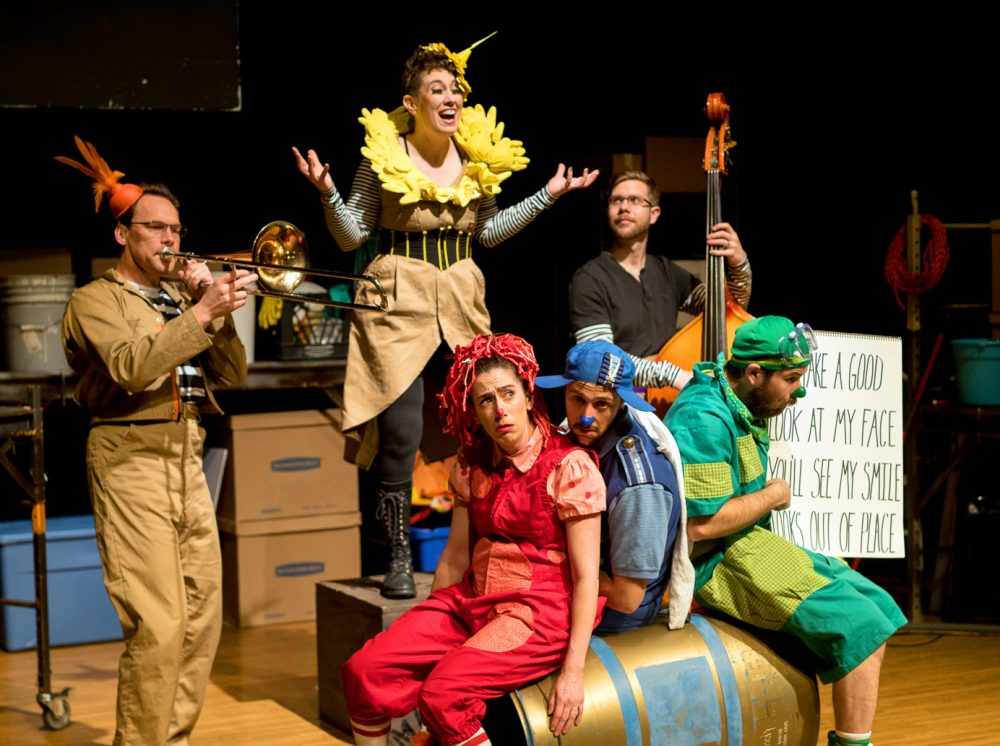 Tim Lewandowski on trombone, Johnny Blazes, Brendan Higgins on bass, Rebecca Lehrhoff as Ruffles, Jesse Garlick as Marco and Glen Moore as Poodge. (Courtesy Chris McIntosh)
