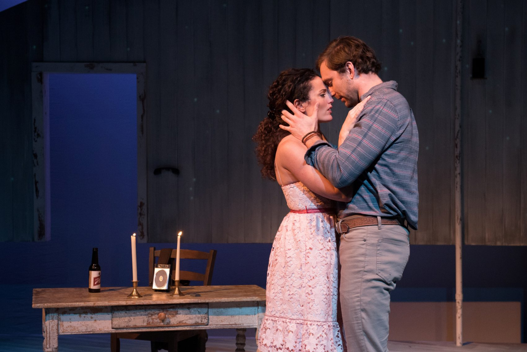 """Jennifer Ellis and Christiaan Smith in SpeakEasy Stage Company's production of """"The Bridges of Madison County."""" (Courtesy Glenn Perry Photography)"""