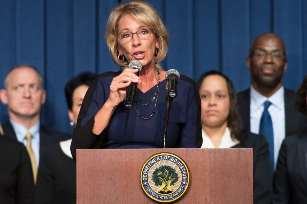 Education Secretary Betsy DeVos delivers remarks to staff on her first day as secretary in Washington, D.C., in February. (Jim Watson/AFP/Getty Images)