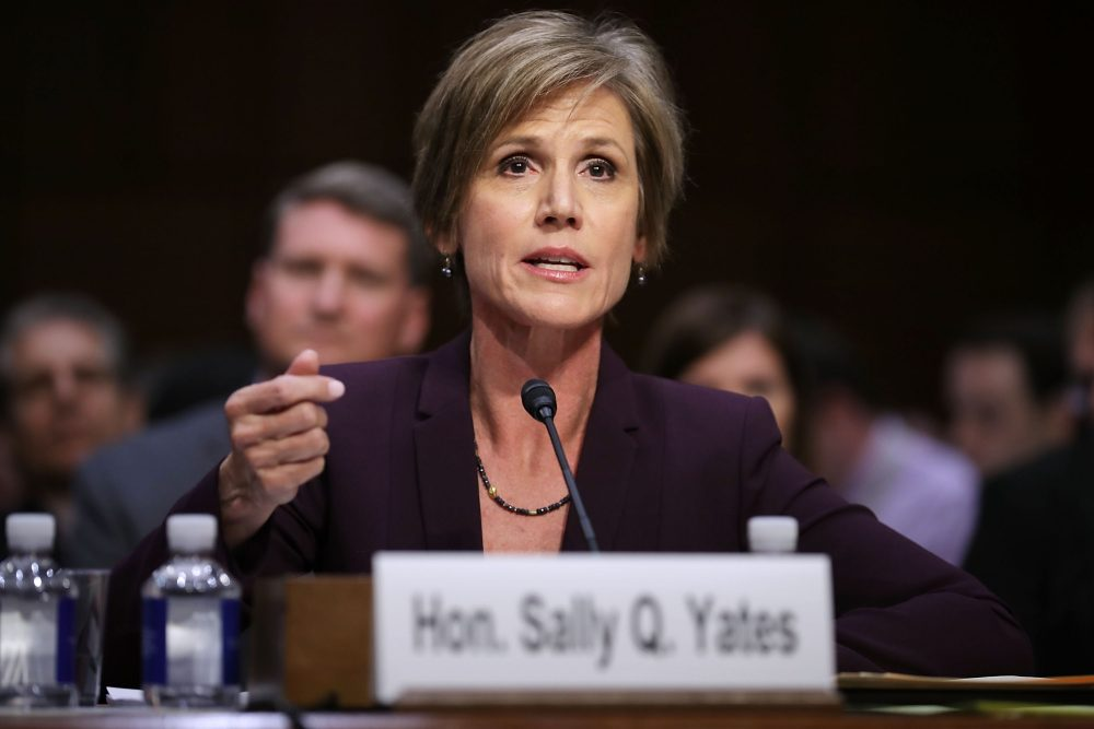 Former acting Attorney General Sally Yates testifies before the Senate Judiciary Committee's Subcommittee on Crime and Terrorism on Capitol Hill, May 8, 2017, in Washington, D.C. (Chip Somodevilla/Getty Images)