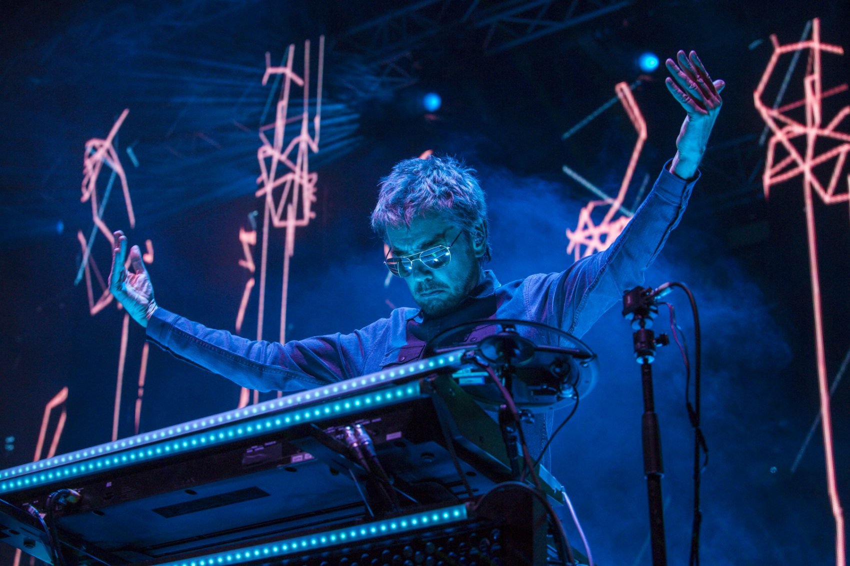 French musician and performer Jean-Michel Jarre in concert at the Dead Sea. (Courtesy Erik Voake)