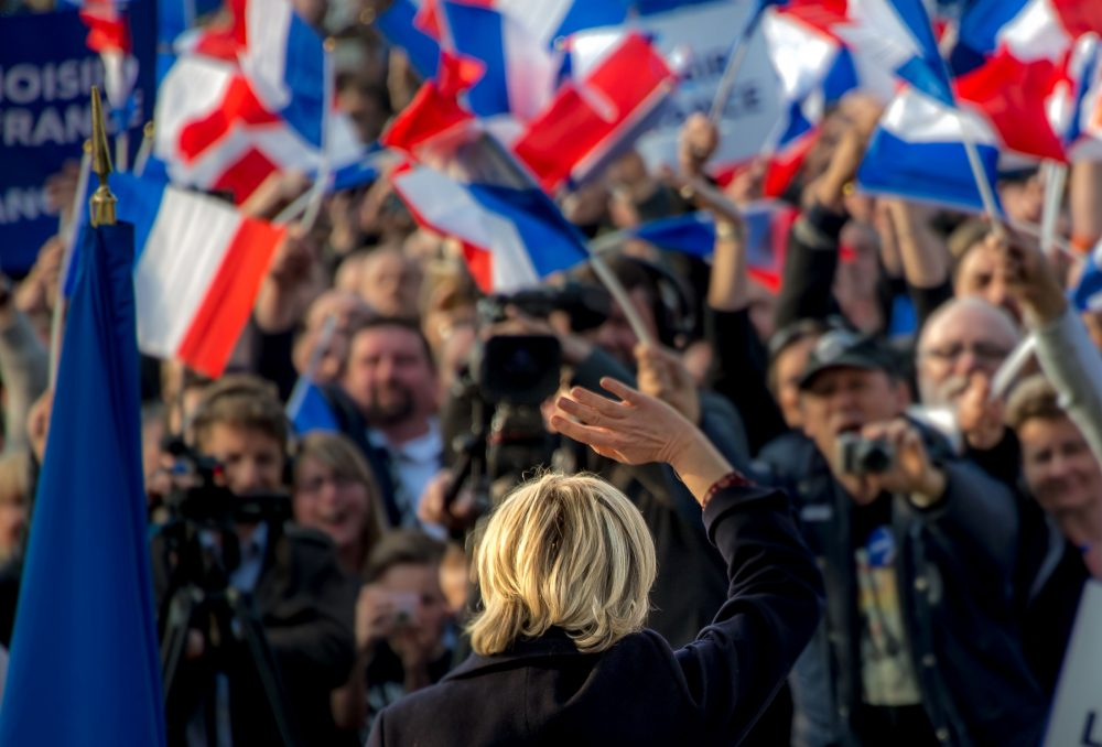 French presidential election candidate for the far-right Front National (FN) party Marine Le Pen waves to supporters during a campaign rally prior to the election on May 4, 2017. (Philippe Huguen/AFP/Getty Images)
