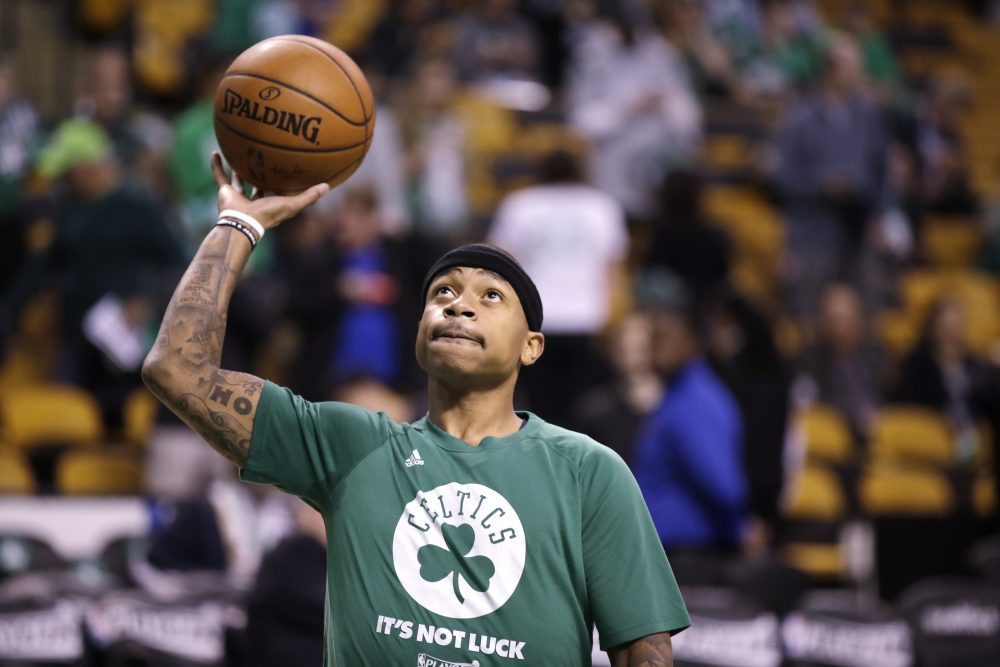 Boston Celtics guard Isaiah Thomas practices prior to the first quarter of a second-round NBA playoff series basketball game in Boston on May 2. (Charles Krupa/AP)