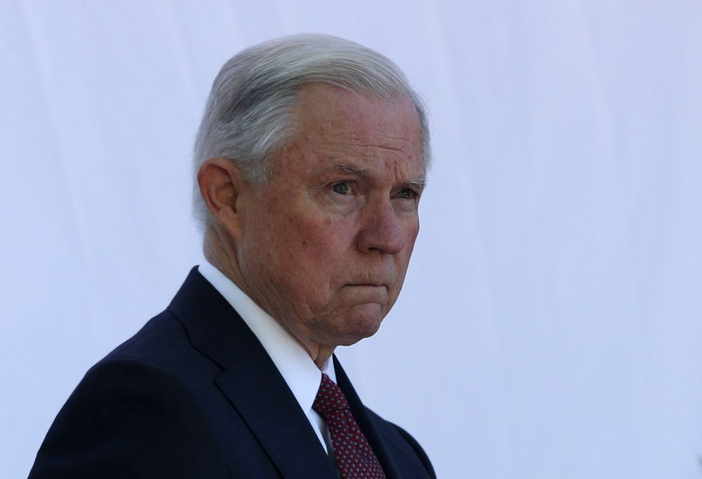 Attorney General Jeff Sessions waits to be introduced during a Bureau of Prisons Correctional Worker's Week Memorial Service at the National Law Enforcement Officers Memorial on May 9, 2017, in Washington, D.C. (Alex Wong/Getty Images)