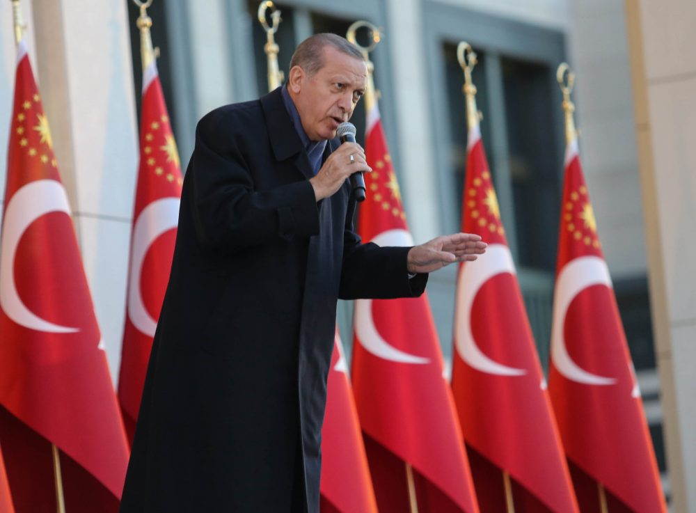 Turkish President Tayyip Erdogan gives a referendum victory speech to his supporters at the Presidential Palace on April 17, 2017, in Ankara, Turkey. The referendum granted sweeping powers to the presidency. (Elif Sogut/Getty Images)