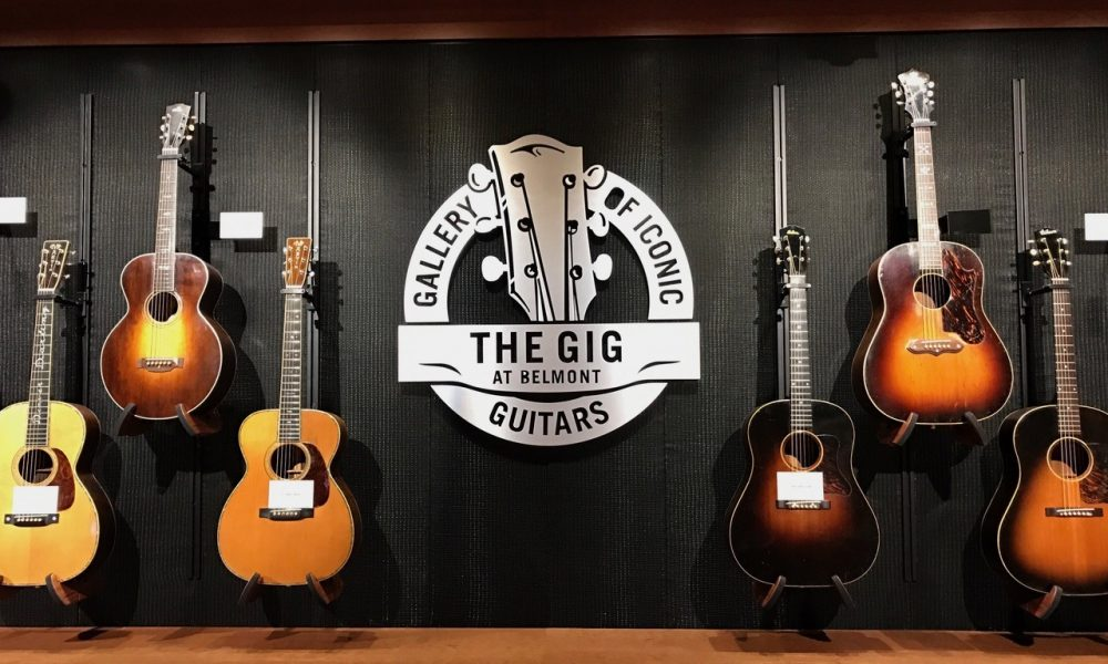 "One hundred of the 500 guitars donated to Belmont University in Nashville will be on display in the Gallery of Iconic Guitars, or ""GIG."" (Amy Eskind/WPLN)"