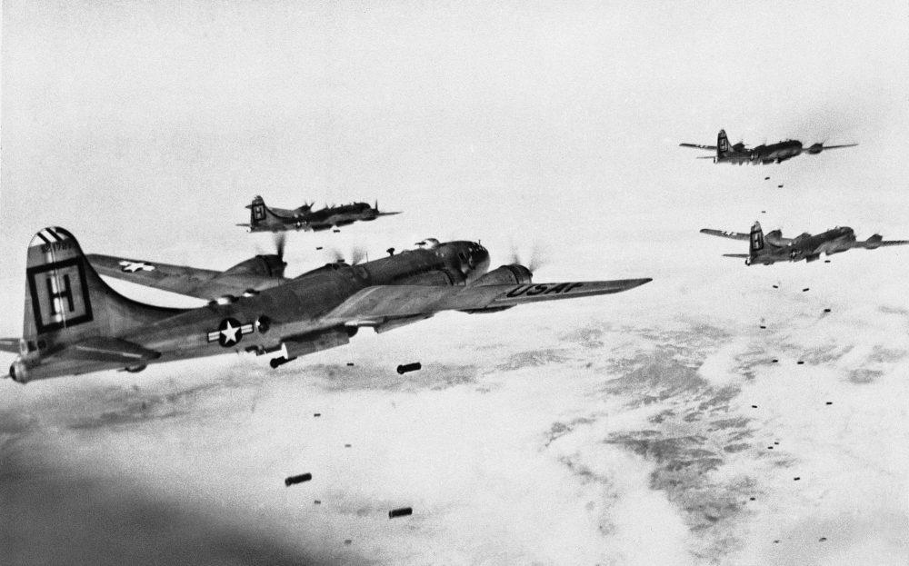 American B-29 Superfortresses on a bombing mission in Korea during the Korean War. (AP)