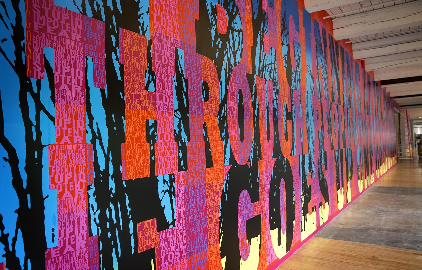 "Part of Boston artist Joe Wardwell's ""Hello America: 40 Hits From the 50 States"" installed at MASS MoCA. (Robin Lubbock/WBUR)"