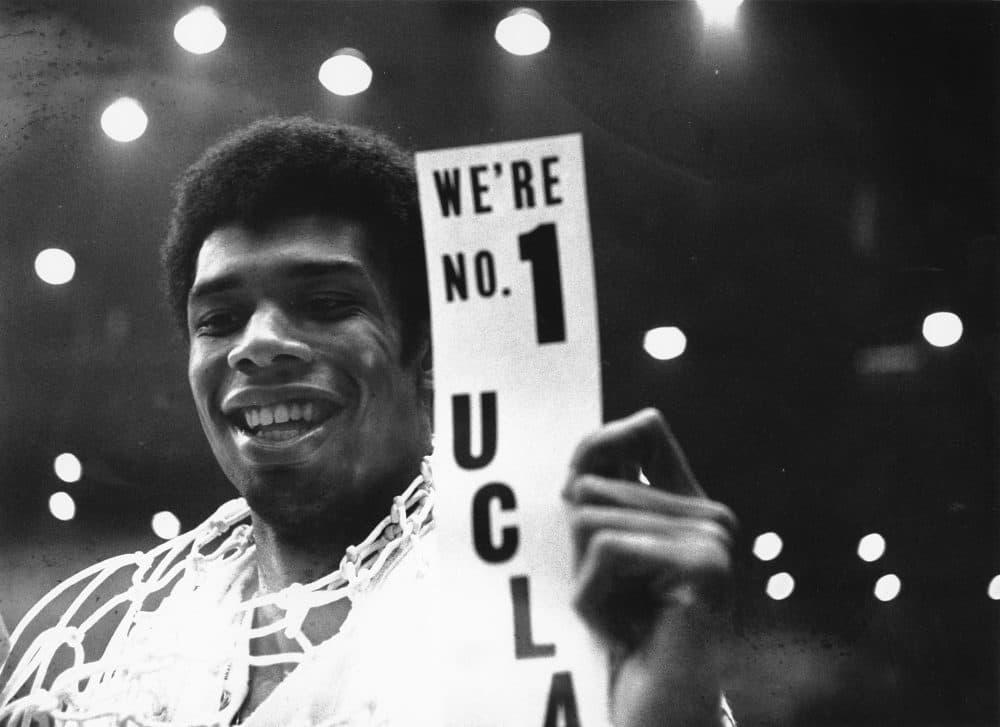 Kareem Abdul-Jabbar -- then Lew Alcindor -- after the 1968 NCAA championship. (AP)