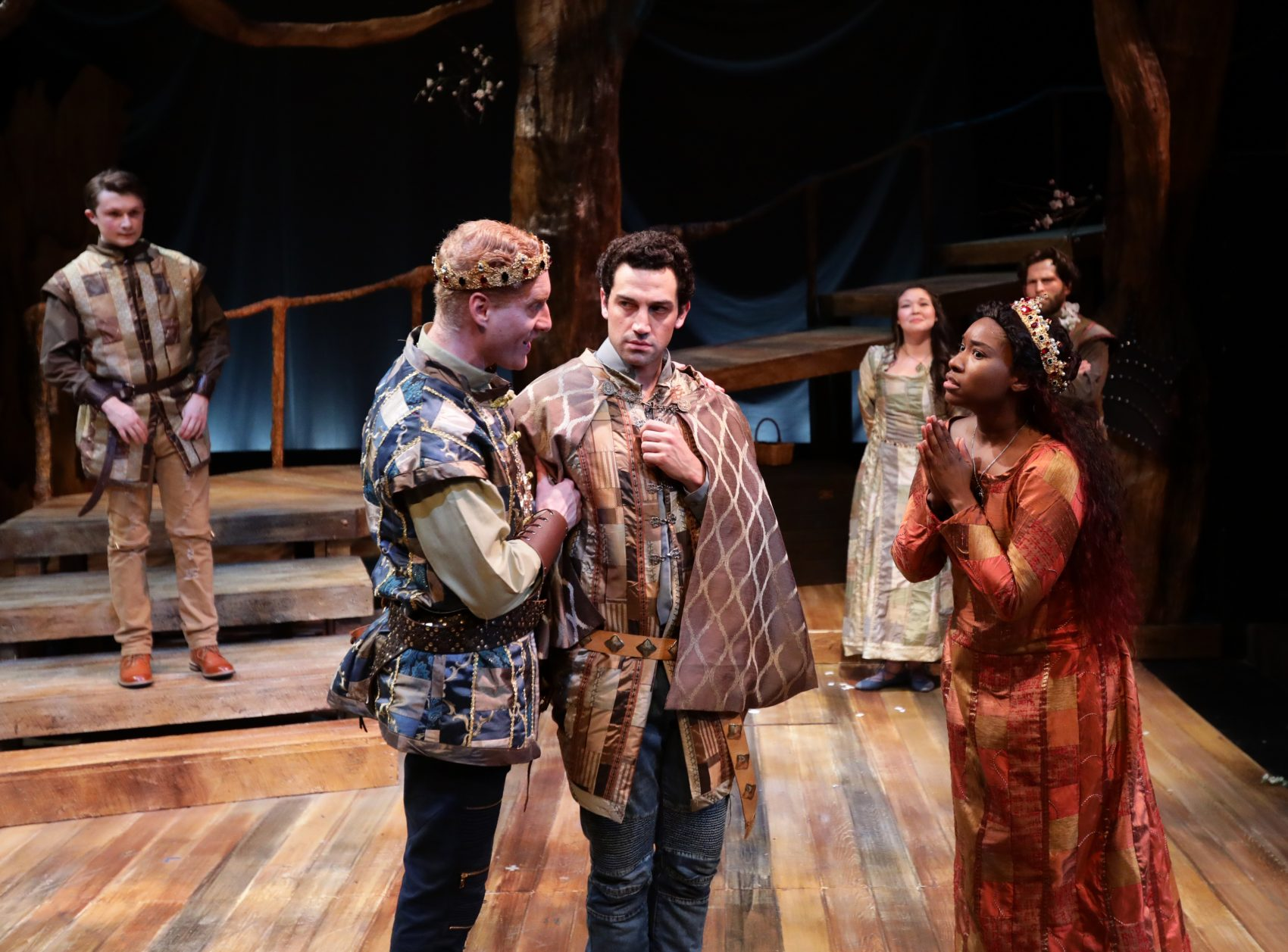 "Ed Hoopman as King Arthur, Jared Troilo as Sir Lancelot and Maritza Bostic as Lady Guenevere in ""Camelot."" (Courtesy Mark S. Howard/Lyric Stage)"