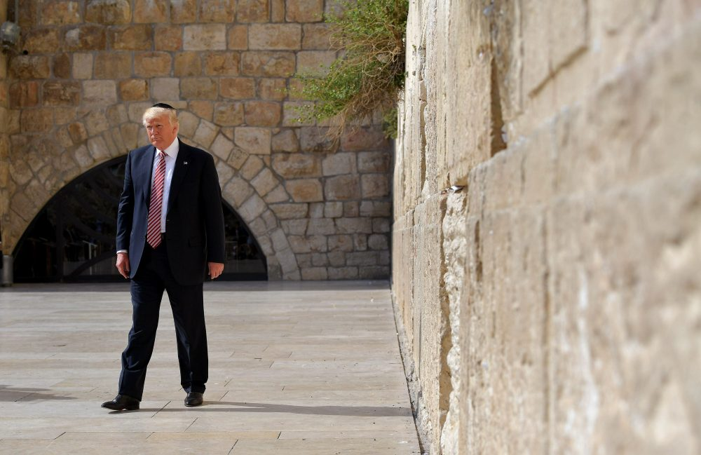 President Trump visits the Western Wall  in Jerusalem's Old City on May 22, 2017. (Mandel Ngan/AFP/Getty Images)