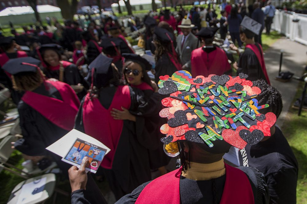 "Nnaemeka Ekwelum decorated the top of his cap with the words ""Black Mindz Matter."" (Jesse Costa/WBUR)"