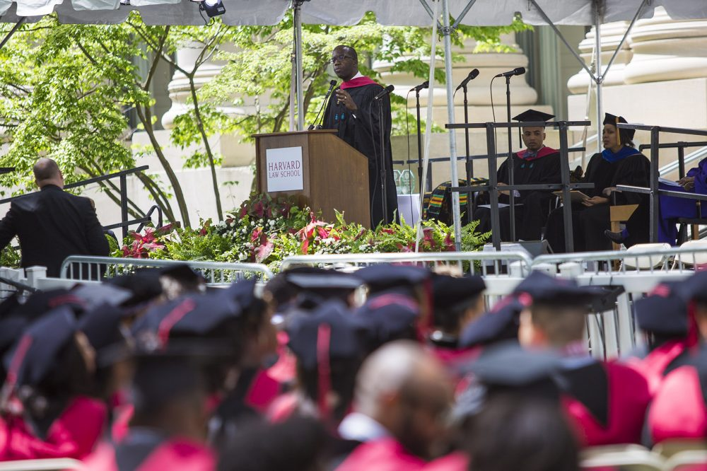 Duwain Pinder is getting a joint degree Thursday from the Kennedy School and Harvard Business School. He spoke during Tuesday's Black Commencement. (Jesse Costa/WBUR)