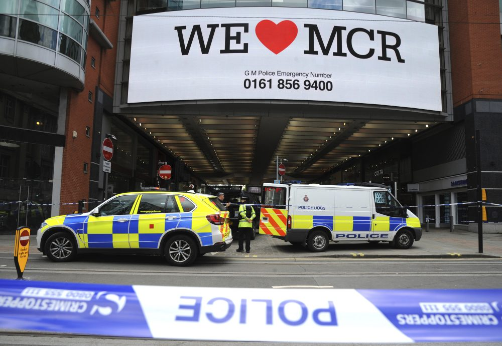 Police evacuate the Arndale shopping centre, in Manchester, England, Tuesday May 23, 2017, the day after an apparent suicide bomber attacked an Ariana Grande concert as it ended Monday night. (Rui Vieira/AP)