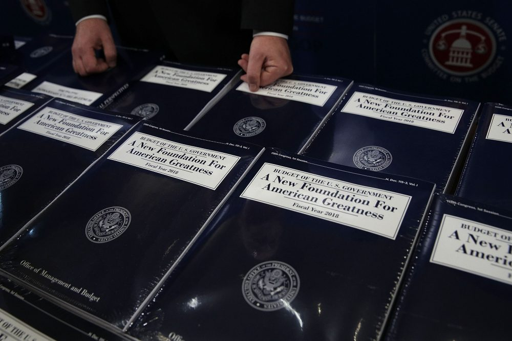 Stacks of President Trump's FY2018 budget proposal are seen during a photo availability on May 23, 2017, on Capitol Hill in Washington, D.C. (Alex Wong/Getty Images)