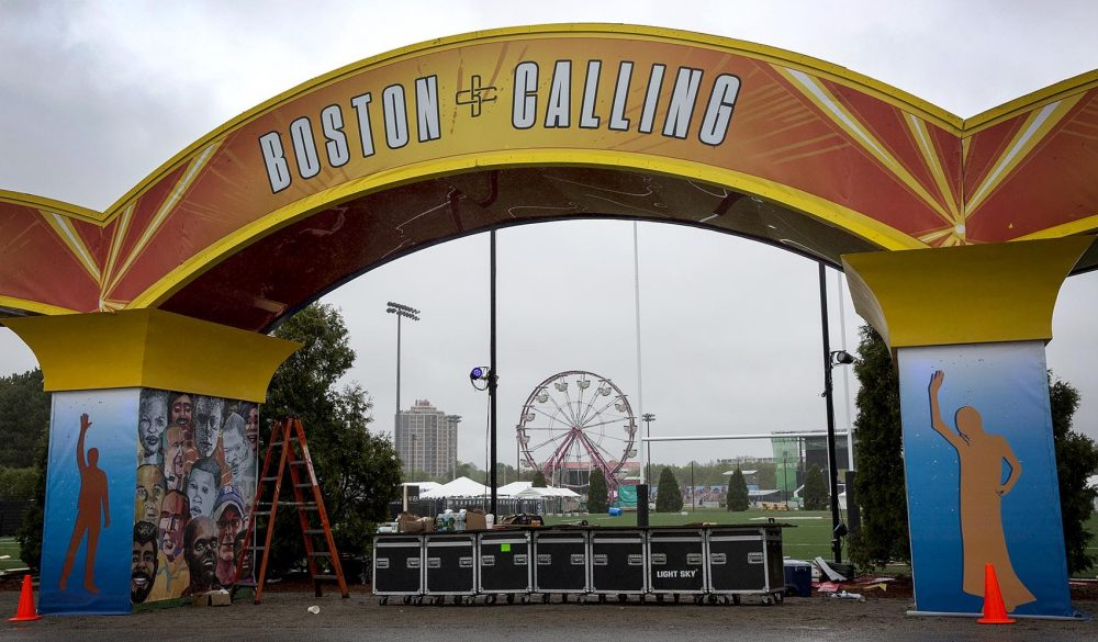 Construction of the entrance to Boston Calling is almost complete on a wet Thursday afternoon. (Robin Lubbock/WBUR)