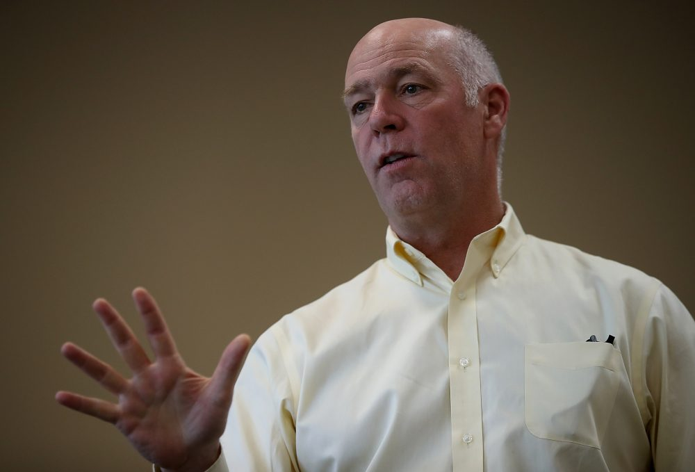 Republican congressional candidate Greg Gianforte speaks to supporters during a campaign meet and greet at Lambros Real Estate on May 24, 2017, in Missoula, Montana. (Justin Sullivan/Getty Images)