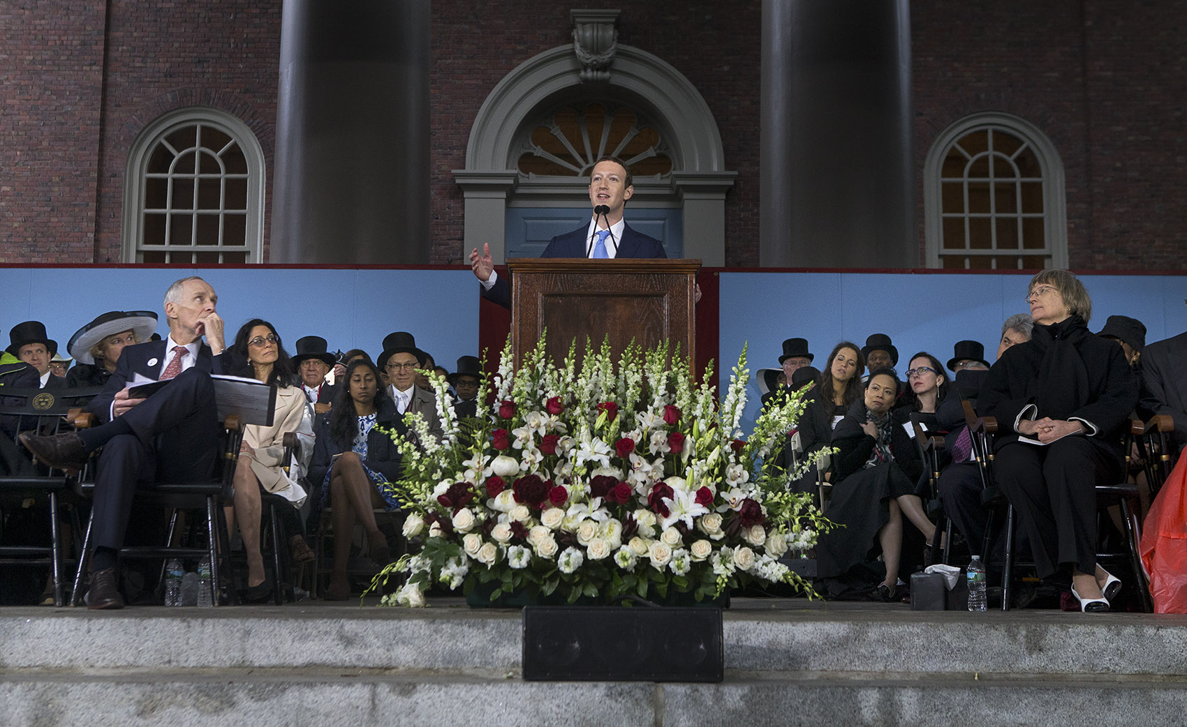 Facebook CEO Mark Zuckerberg gave Harvard's commencement address Thursday afternoon. Zuckerberg created the social media site in his Harvard dorm room in 2004. He dropped out in 2005 to further the company. (Jesse Costa/WBUR)