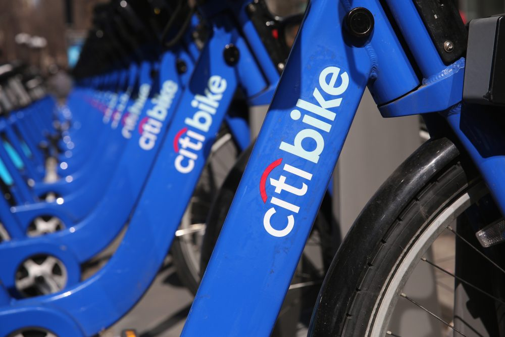 Citi Bikes await riders at a bicycle station in 2014. (John Moore/Getty Images)