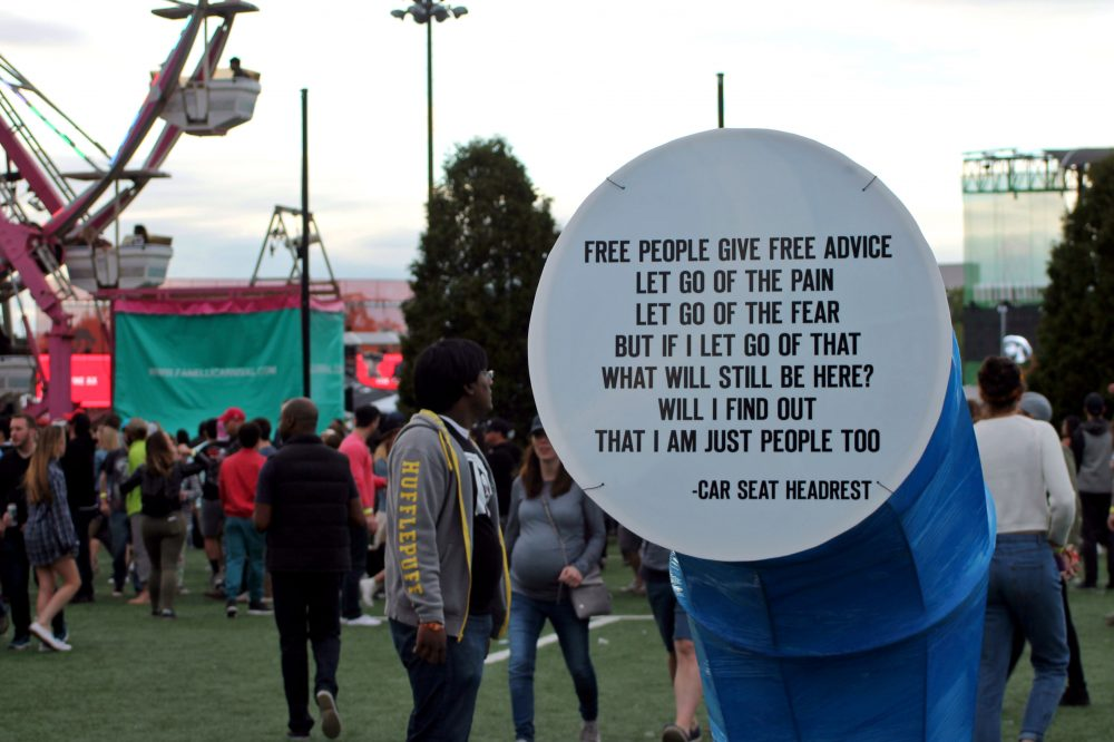 Quotes from bands playing the festival around the grounds. (Amy Gorel/WBUR)