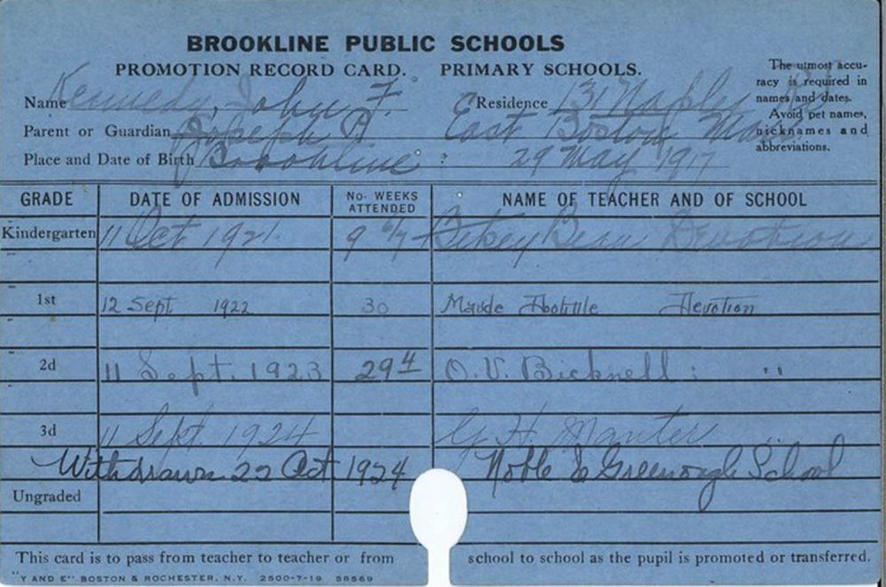 John F. Kennedy started as a kindergartner at the Devotion School in Brookline in 1921. (Courtesy John F. Kennedy Presidential Library)