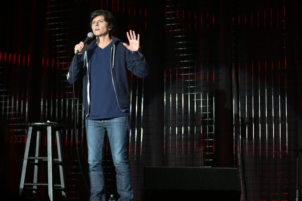 Tig Notaro performs standup at Boston Calling's comedy stage. (Hadley Green for WBUR)