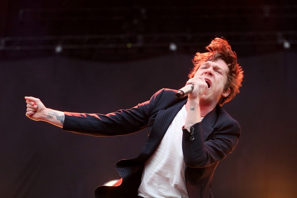 Matt Shultz of Cage the Elephant performs Sunday afternoon. (Hadley Green for WBUR)