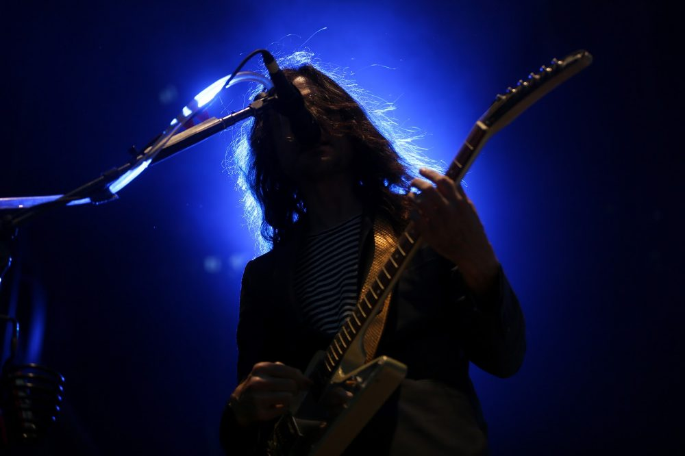 Guitarist Brian Bell, of Weezer, performs on Sunday. (Hadley Green for WBUR)