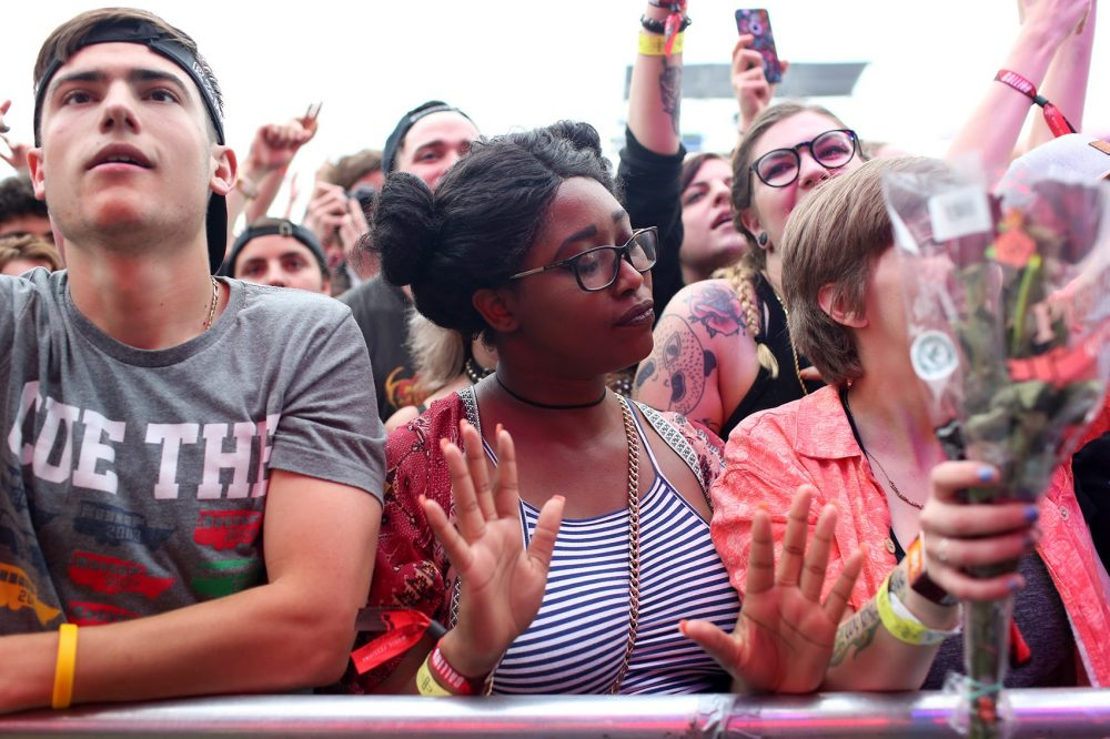 People dance during Run The Jewels performance. (Hadley Green for WBUR)